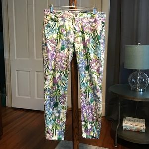 Zara 5 Pocket Skinny Trousers with Floral Print M